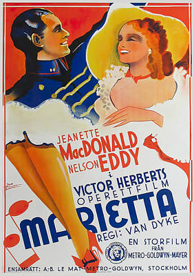 Kitchen Mark Rogan - Movie poster for Naughty Marietta, with Jeanette MacDonald and Nelson Eddy, 1935 by Stars on Art