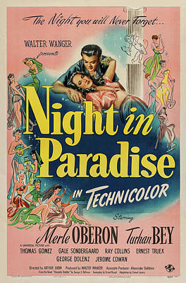 Open Impressionism California Desert Royalty Free Images - Movie poster for Night in Paradise, with Merle Oberon, 1946 Royalty-Free Image by Stars on Art