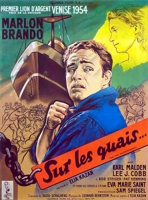Bringing The Outdoors In - Movie poster for On the Waterfront, with Marlon Brando, 1954 by Stars on Art