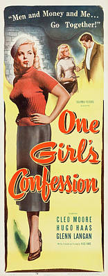 Personalized Name License Plates - Movie poster for One Girls Confession, 1953 by Stars on Art