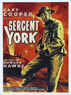 Bringing The Outdoors In - Movie poster for Sergeant York, with Gary Cooper, 1941 by Stars on Art