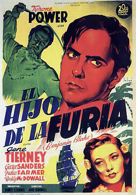 Open Impressionism California Desert Royalty Free Images - Movie poster for Son of Fury, with Tyrone Power and Gene Tierney, 1942 Royalty-Free Image by Stars on Art