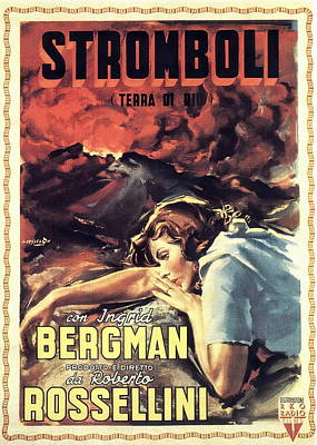 Open Impressionism California Desert Royalty Free Images - Movie poster for Stromboli, with Ingrid Bergman, 1950 Royalty-Free Image by Stars on Art