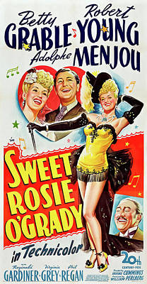 Personalized Name License Plates - Movie poster for Sweet Rosie OGrady, with Betty Grable, 1943 by Stars on Art