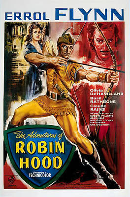 Mixed Media Royalty Free Images - Movie poster for The Adventures of Robin Hood, with Errol Flynn, 1938 Royalty-Free Image by Stars on Art