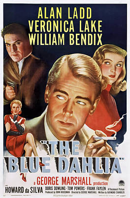Mixed Media Royalty Free Images - Movie poster for The Blue Dahlia, with alan Ladd and Veronica Lake, 1946 Royalty-Free Image by Stars on Art