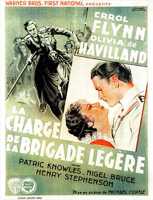 Open Impressionism California Desert Royalty Free Images - Movie poster for The Charge of the Light Brigade, with Errol Flynn and Olivia de Havilland, 1936 Royalty-Free Image by Stars on Art
