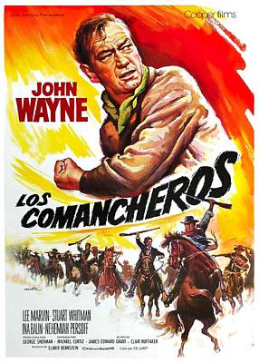 Mixed Media Royalty Free Images - Movie poster for The Comaancheros, with John Wayne, 1961 Royalty-Free Image by Stars on Art