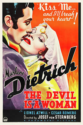 Pasta Al Dente Royalty Free Images - Movie poster for The Devil is a Woman, with Marlene Dietrich, 1935 Royalty-Free Image by Stars on Art