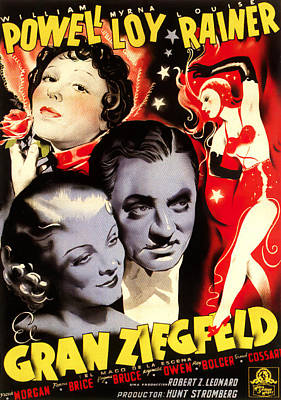 Bringing The Outdoors In - Movie poster for The Great Ziegfeld, with Luise Rainer and William Powell, 1936 by Stars on Art