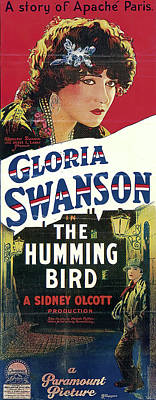 Monochrome Landscapes - Movie poster for The Humming Bird, with Gloria Swanson, 1924 by Stars on Art