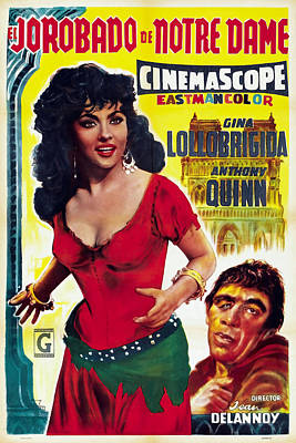 Open Impressionism California Desert Royalty Free Images - Movie poster for The Hunchback of Notre Dame, with Gina Lollobrigida, 1957 Royalty-Free Image by Stars on Art