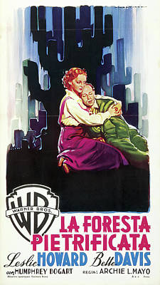 Open Impressionism California Desert Royalty Free Images - Movie poster for The Petrified Forest, with Leslie Howard and Bette Davis, 1936 Royalty-Free Image by Stars on Art