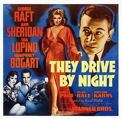 Open Impressionism California Desert Royalty Free Images - Movie poster for They Drive By Night, with George Raft and Ann Sheridan, 1940 Royalty-Free Image by Stars on Art