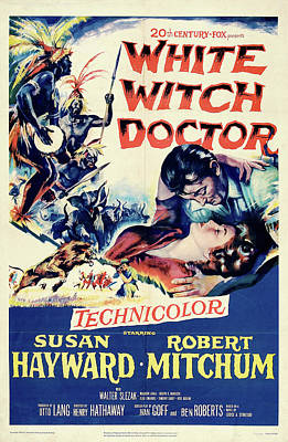 Winter Animals - Movie poster for White Witch Doctor, with Susan Hayward and Robert Mitchum, 1953 by Stars on Art