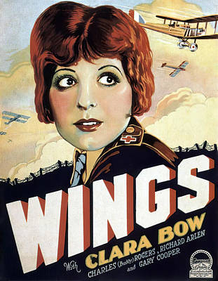 Pasta Al Dente Royalty Free Images - Movie poster for Wings, with Clara Bow and Gary Cooper, 1927 Royalty-Free Image by Stars on Art