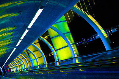 Photograph - Moving Sidewalk Abstract Blue Yellow by Donna Corless