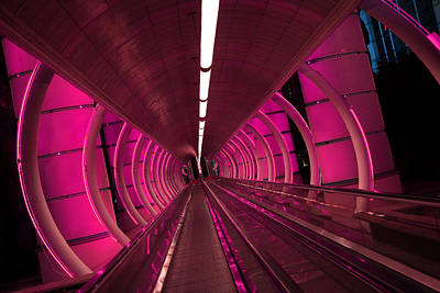 Photograph - Moving Sidewalk Abstract Fushia by Donna Corless
