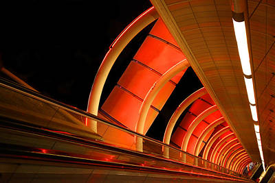 Photograph - Moving Sidewalk Abstract Orange by Donna Corless