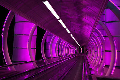 Photograph - Moving Sidewalk Abstract Purple by Donna Corless