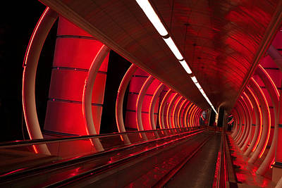 Photograph - Moving Sidewalk Abstract Red by Donna Corless