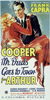 Typography Tees - Mr Deeds Goes to Town, with Jean Arthur and Gary Cooper, 1936 by Stars on Art