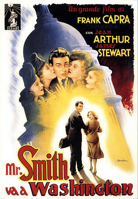 Mixed Media Royalty Free Images - Mr. Smith Goes to Washington, with James Stewart and Jean Arthur, 1939 Royalty-Free Image by Stars on Art