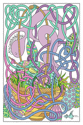 Abstract Airplane Art - Mr Squiggly Painting Easter Eggs by Becky Titus