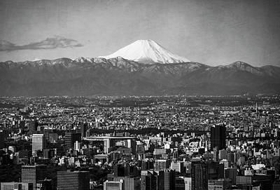 Marvelous Marble - Mt Fuji Over Tokyo Japan by Joan Carroll