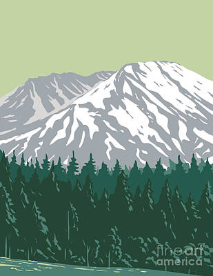 Bicycle Patents - Mt. Saint Helens in Mount St. Helens National Volcanic Monument Located in Gifford Pinchot National Forest Washington State  United States WPA Poster Art by Aloysius Patrimonio