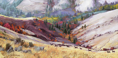 Animals Royalty-Free and Rights-Managed Images - Mule Deer Draw by Steve Henderson