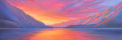 Painting - Muncho Lake Sunset by Alison Newth