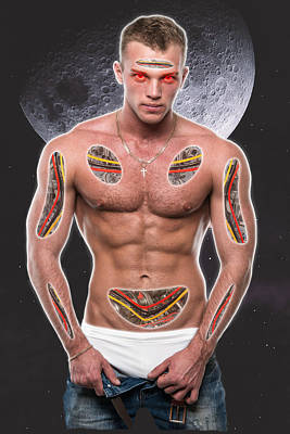 Surrealism Digital Art Rights Managed Images - Muscular Man with Electronic Composition Surreal Royalty-Free Image by Barroa Artworks