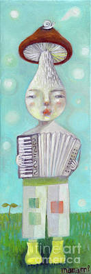 Painting - Mushroom musician plays accordion by Manami Lingerfelt