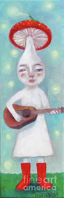 Painting - Mushroom Musician plays guitar by Manami Lingerfelt