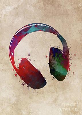 Digital Art - Music Headphones #headphones #music by Justyna Jaszke JBJart