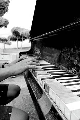 Musicians Royalty Free Images - Musician playing piano on a beach in black and white Royalty-Free Image by Dragos Nicolae Dragomirescu