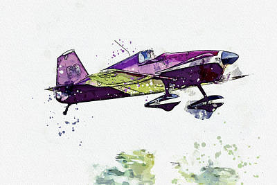 Vintage Movie Stars - Mustang Aeronautics Midget Mustang MM- No G-AWIR war planes in watercolor ca by Ahmet Asar  by Celestial Images