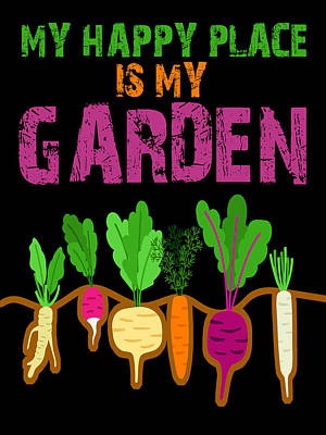 David Bowie - My Happy Place Is My Garden Gardener Gift Spring Vegetables by Tony Rubino