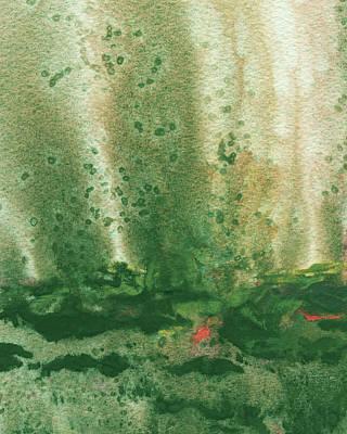 Valentines Day - Mystic Landscape Abstract Green Watercolor  by Irina Sztukowski