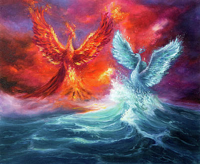 Landscapes Royalty-Free and Rights-Managed Images - Mythology phoenix and spiritual swan by Boyan Dimitrov