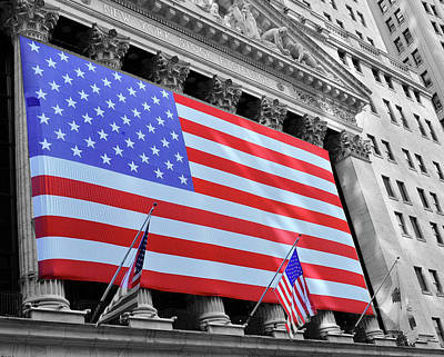 David Bowie - New York Stock Exchange American Flag 2 by Allen Beatty