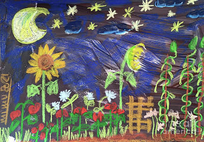 Mixed Media Royalty Free Images - Nachts im Garten - In the Garden at Night Royalty-Free Image by Mimulux Patricia No