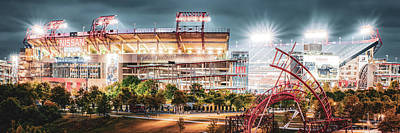 Sports Royalty-Free and Rights-Managed Images - Nashville Stadium Lights - Tennessee Panorama by Gregory Ballos