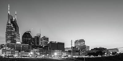 Basketball Patents Royalty Free Images - Nashvilles Music City Skyline Panorama at Dawn in Black and White Royalty-Free Image by Gregory Ballos