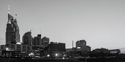 Basketball Patents Royalty Free Images - Nashvilles Music City Skyline Panorama at Dawn in Monochrome Royalty-Free Image by Gregory Ballos