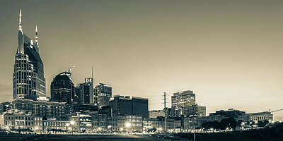 Basketball Patents Royalty Free Images - Nashvilles Music City Skyline Panorama at Dawn in Sepia Royalty-Free Image by Gregory Ballos