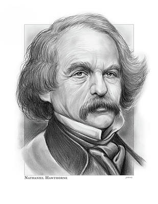 Drawings Royalty Free Images - Nathaniel Hawthorne Royalty-Free Image by Greg Joens