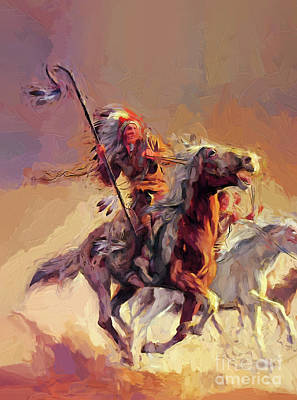 Animals Royalty-Free and Rights-Managed Images - Native American Fighting on Horse by Gull G