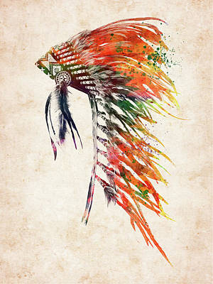 Everett Collection - Native American Headdress 3 by Mihaela Pater
